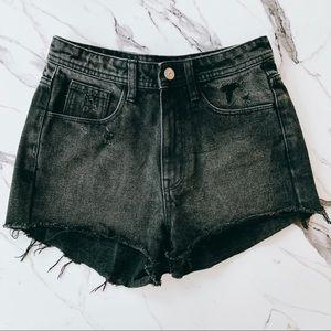 Pants - Black High Waist Jean Shorts